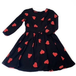 Topshop • Heart Print Fit and Flare Dress